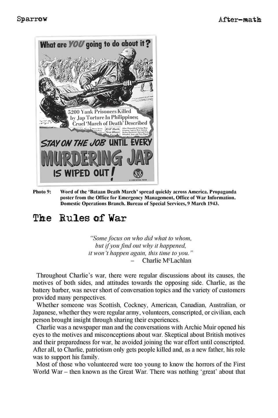 Sparrow  Photo 9   After-math  Word of the    Bataan Death March    spread quickly across America. Propaganda poster from ...