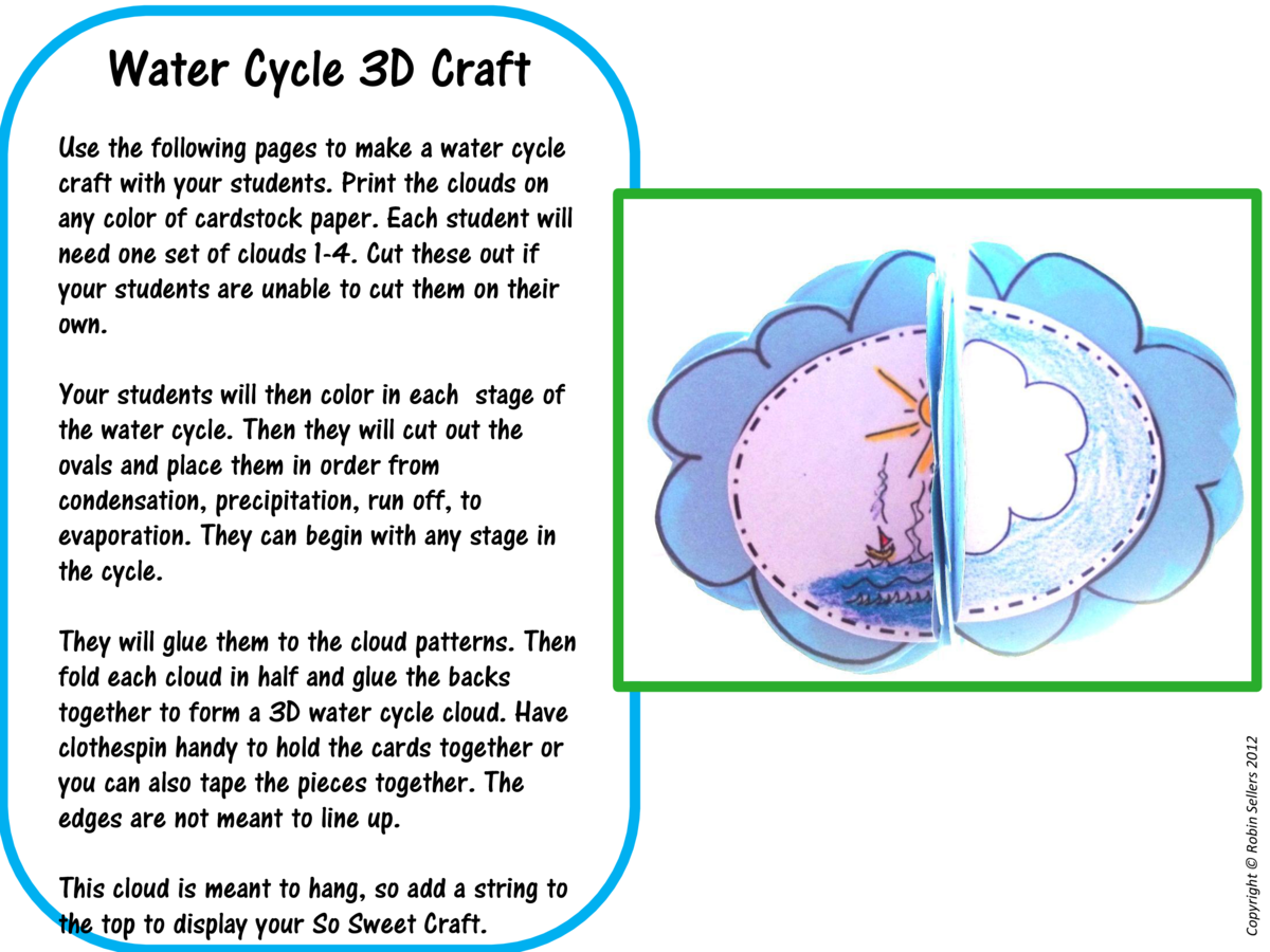 Water Cycle 3D Craft Use the following pages to make a water cycle craft with your students. Print the clouds on any color...