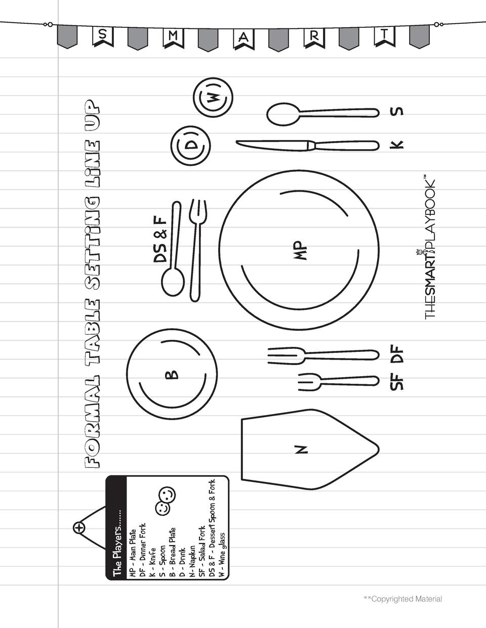 Copyrighted Material  MP     Main Plate DF     Dinner Fork K     Knife S     Spoon B     Bread Plate D     Drink N- Napk...
