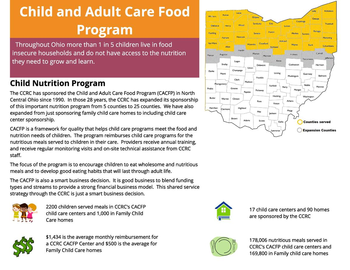 Ch ild an d Adu lt Car e Food Pr ogr am Throughout Ohio more than 1 in 5 children live in food insecure households and do ...