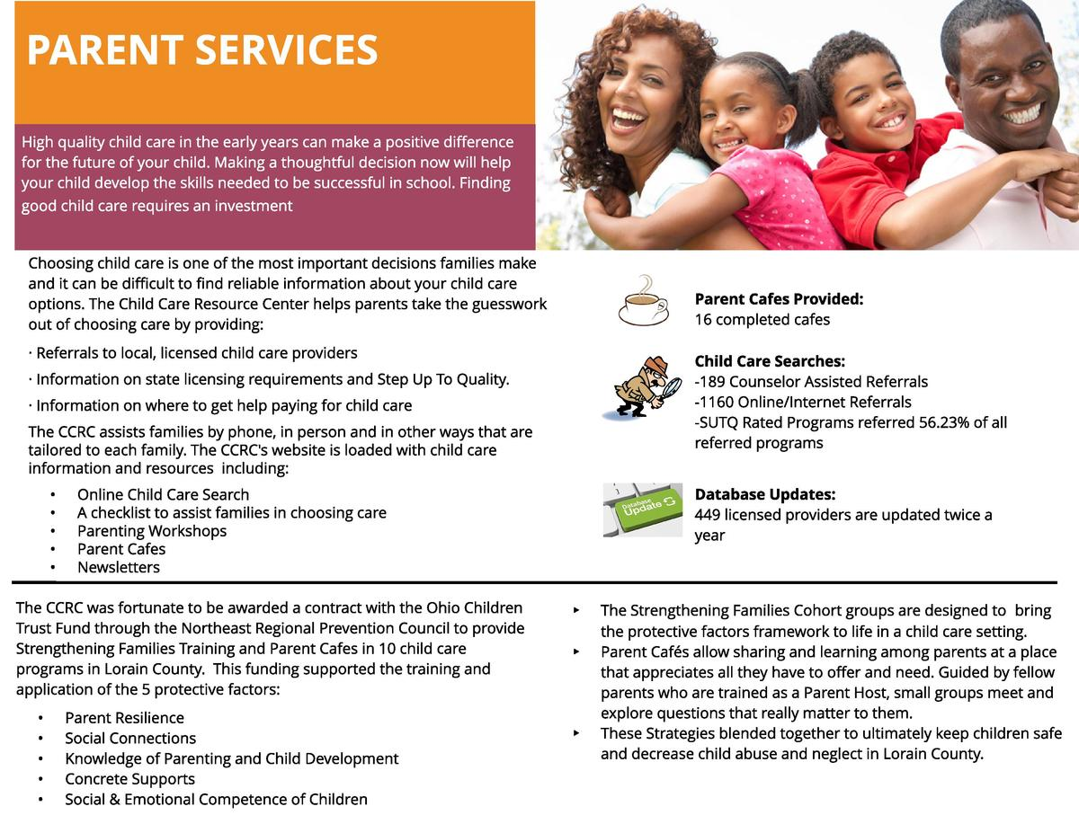 PARENT SERVICES High quality child care in the early years can make a positive difference for the future of your child. Ma...