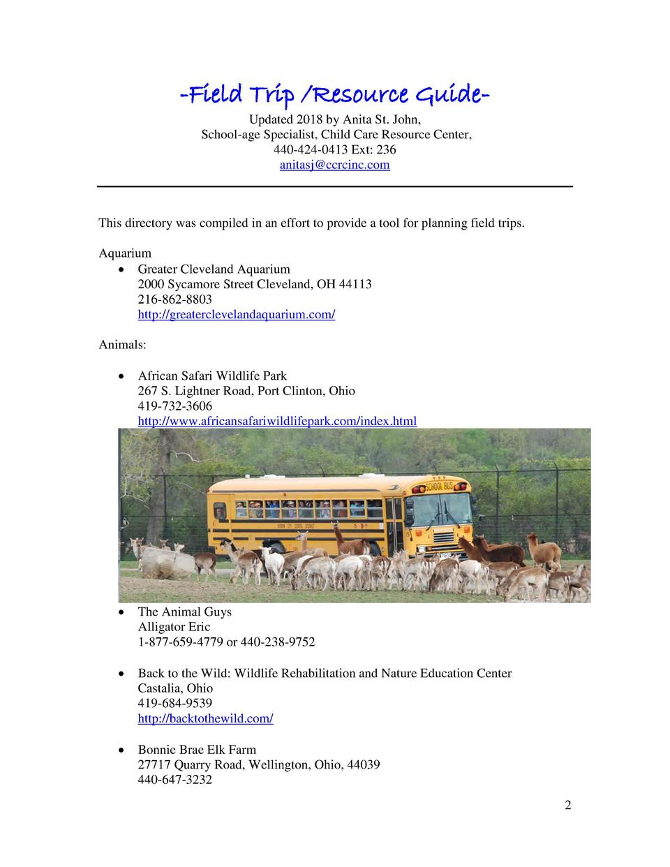 -Field Trip  Resource GuideUpdated 2018 by Anita St. John, School-age Specialist, Child Care Resource Center, 440-424-0413...