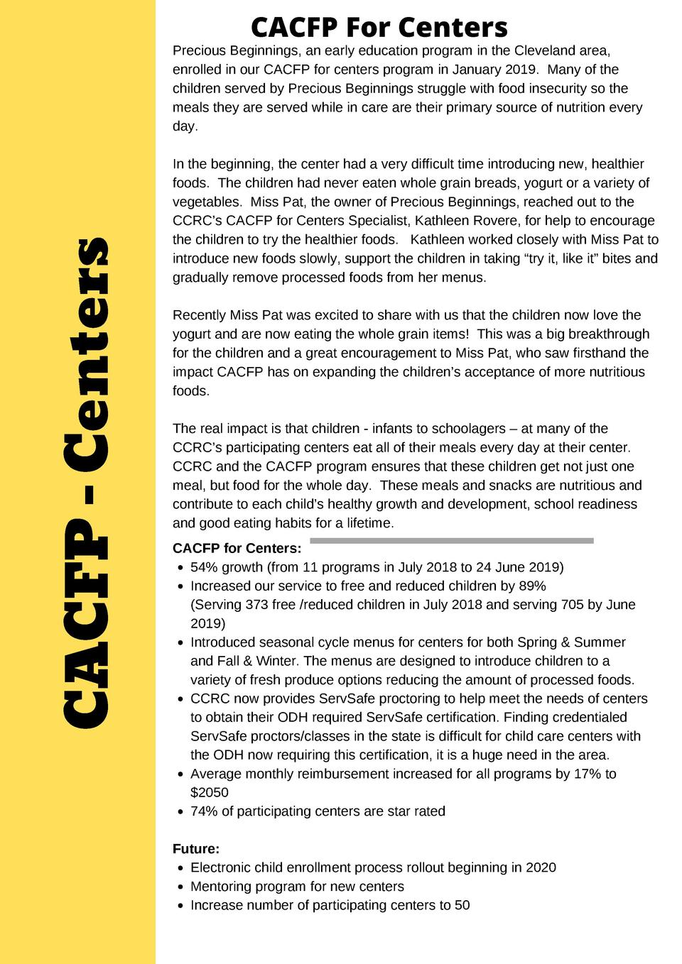CACFP For Centers  CACFP - Centers  Precious Beginnings, an early education program in the Cleveland area, enrolled in our...