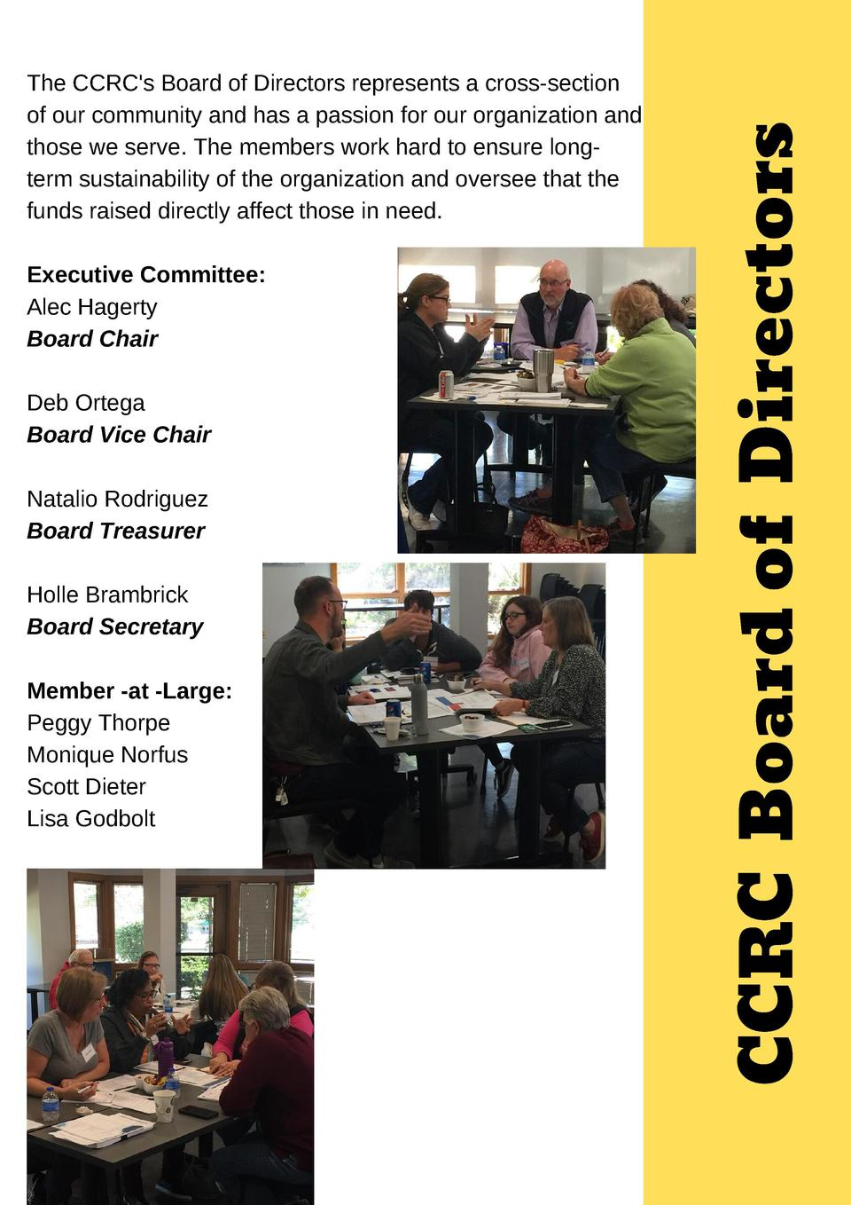 Executive Committee  Alec Hagerty Board Chair Deb Ortega Board Vice Chair Natalio Rodriguez Board Treasurer Holle Brambric...