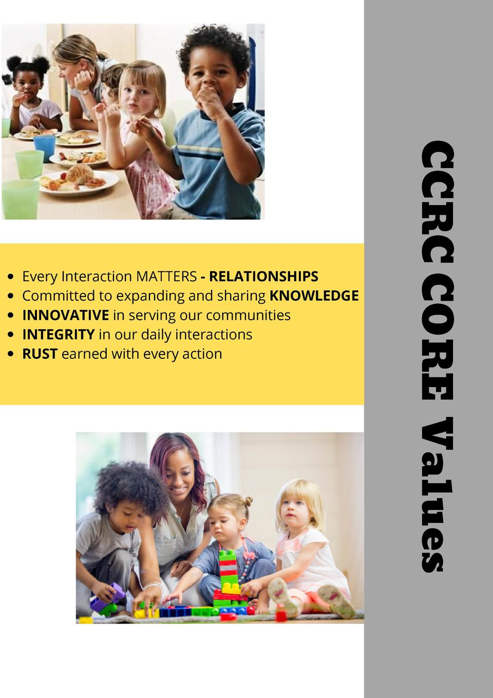 CCRC CORE Values  Every Interaction MATTERS - RELATIONSHIPS Committed to expanding and sharing KNOWLEDGE INNOVATIVE in ser...
