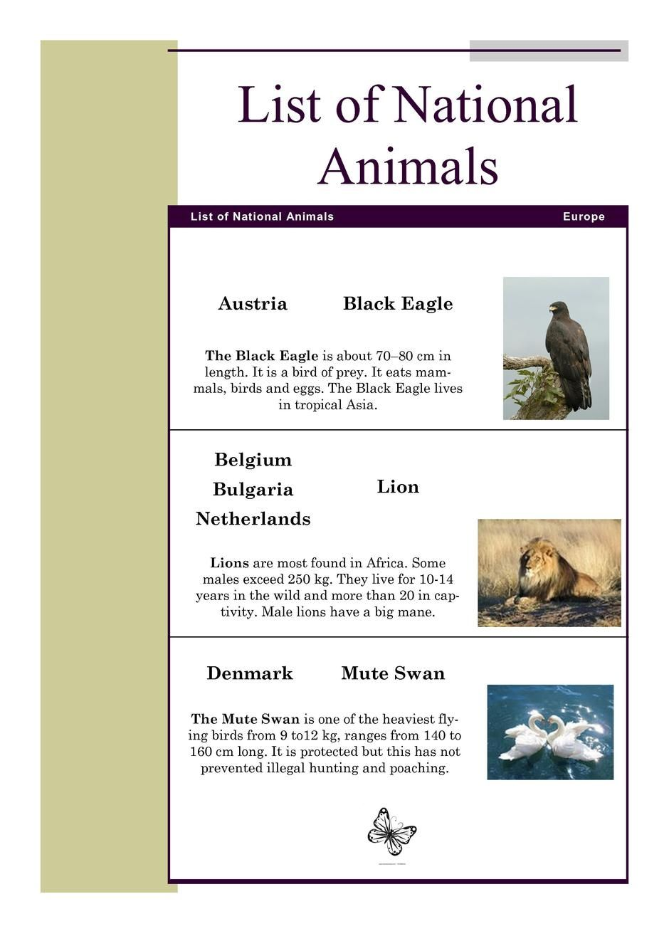 List of national animals for Lit national